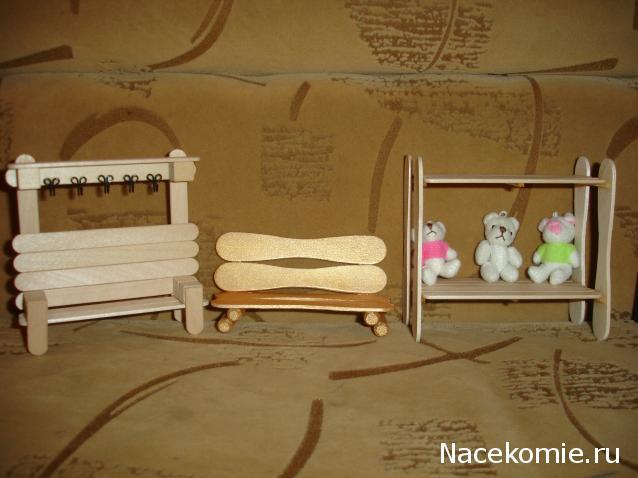 Лавочка для кукол своими руками из палочек для мороженого