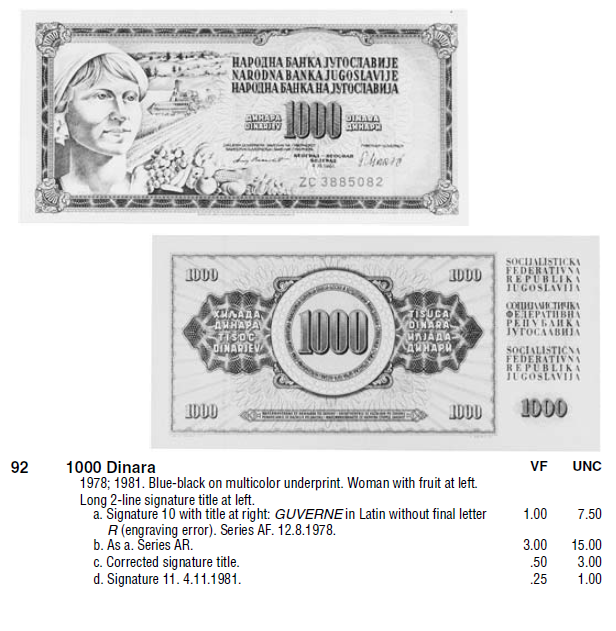 Монеты и купюры мира №248 1000 динаров (Югославия)