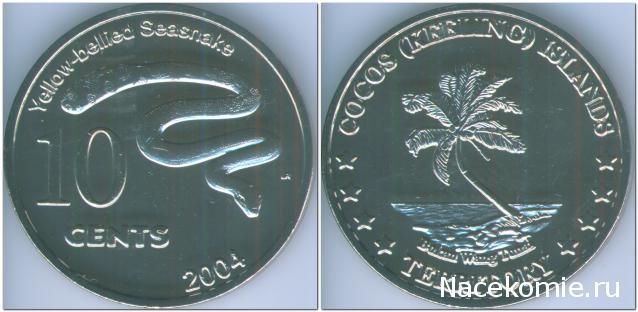 Монеты и банкноты №235 2 эре (Швеция), 10 центов (Кокосовые острова)