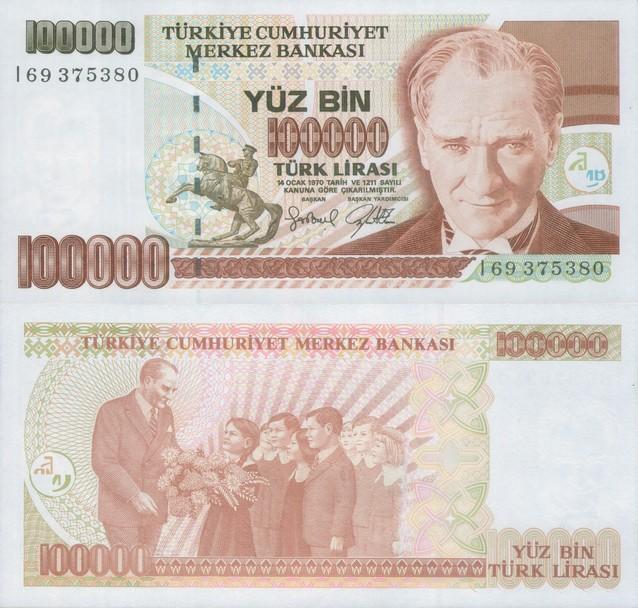Монеты и банкноты №236 100 000 лир (Турция), 25 сантимов (Люксембург)