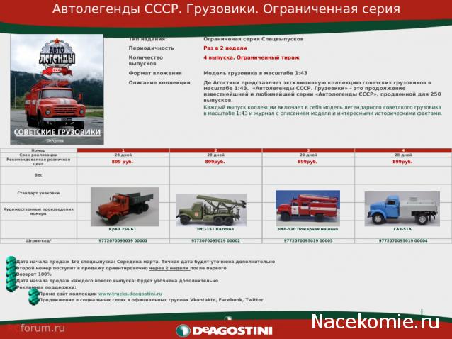 Автолегенды СССР Грузовики - График выхода и обсуждение