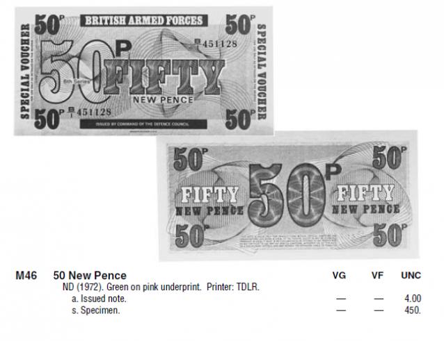 Монеты и купюры мира №285 50 новых пенсов британских ВС