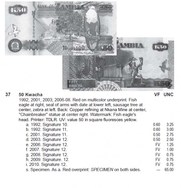 Монеты и купюры мира №268 50 квач (Замбия)
