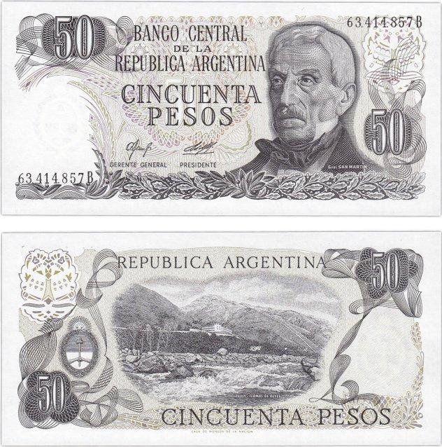 Монеты и купюры мира №291 50 песо (Аргентина)