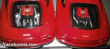 Моторный отсек моделей из Тестовой и Основной серии Феррари Коллекшн (тестовая слева)