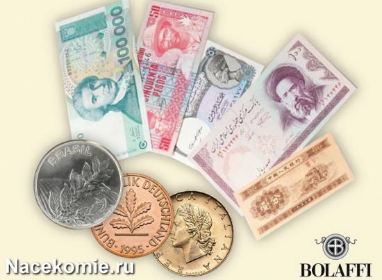 Коллекция настоящих монет и банкнот