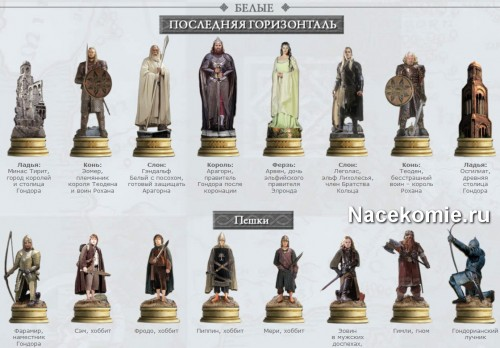 Коллекция шахматных фигур Властелин Колец (Белые)