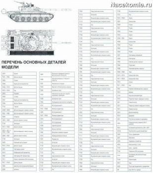 Перечень деталей модели танка Т-72